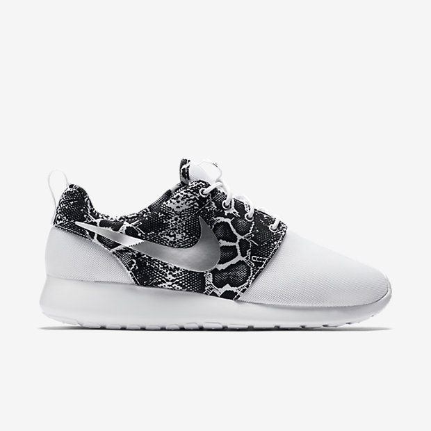 nike roshe run black and white slip on trainers with snake