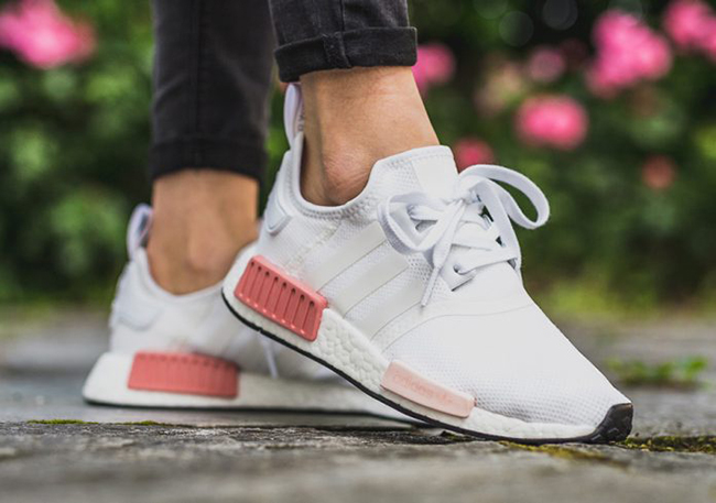 "check out 25e13 21ca6 WOMENS ADIDAS NMD R1 ""WHITE / ICEY PINK"" $116.99 FREE ..."