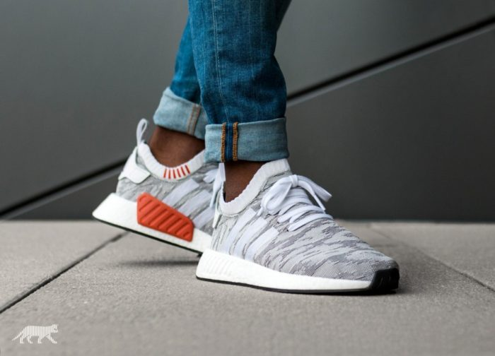"nice shoes really cheap great deals ADIDAS NMD R2 PRIMEKNIT ""WHITE / RED"" $82.49 