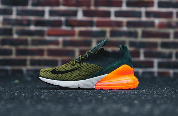 "bac1485472 The Nike Air Max 270 Flyknit ""Olive / Orange"" are available now for just  $89.98"