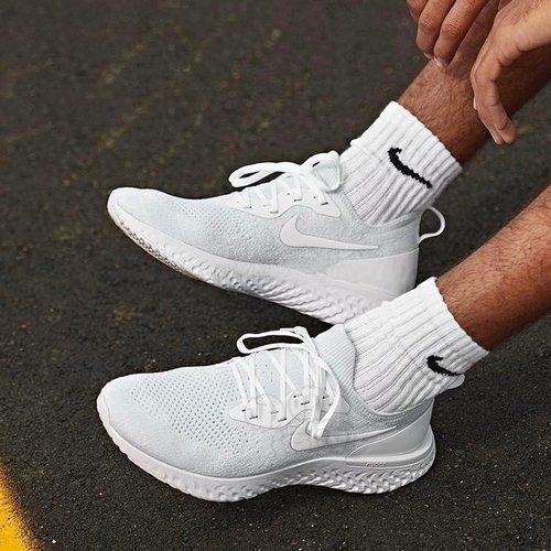 62a3ab9047f1e Nike Epic React Flyknit  Triple White  Sale Price   80 (Retail  150)